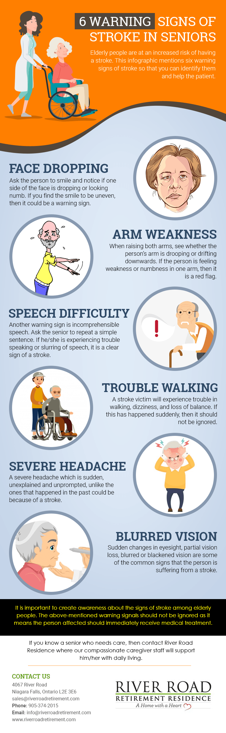 6 warning signs of stroke in seniors infographic river road